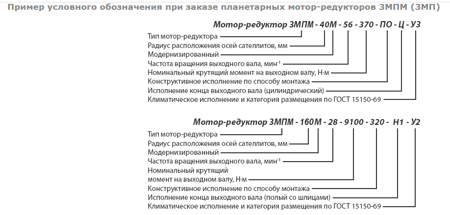 primer uslovnogo oboznacheniya 3mp - Редукторы планетарные ЗМП